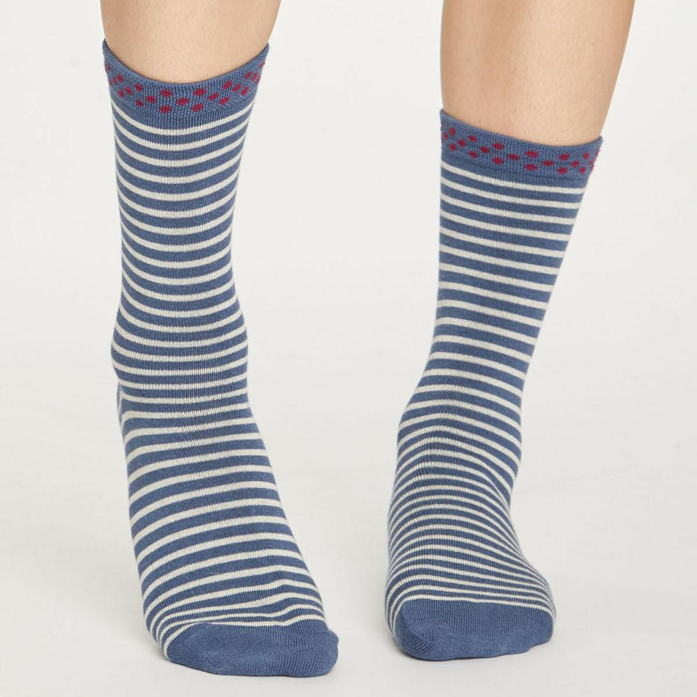 Hedda Stripe Natural Breathable Bamboo Socks by Thought Clothing &Keep