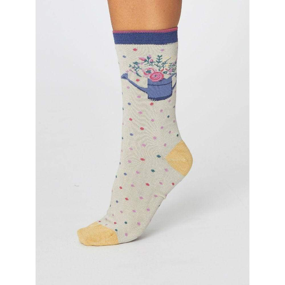Thought Pair of Natural Bamboo Socks in a Bag - Spotty Bouquet &Keep
