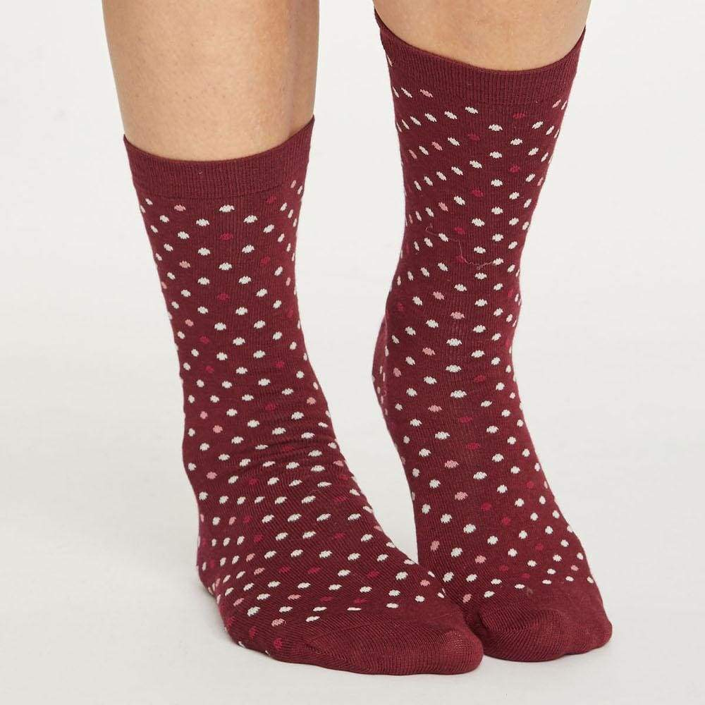 Thought Spotty Natural Breathable Bamboo Socks by Thought - Bilberry &Keep
