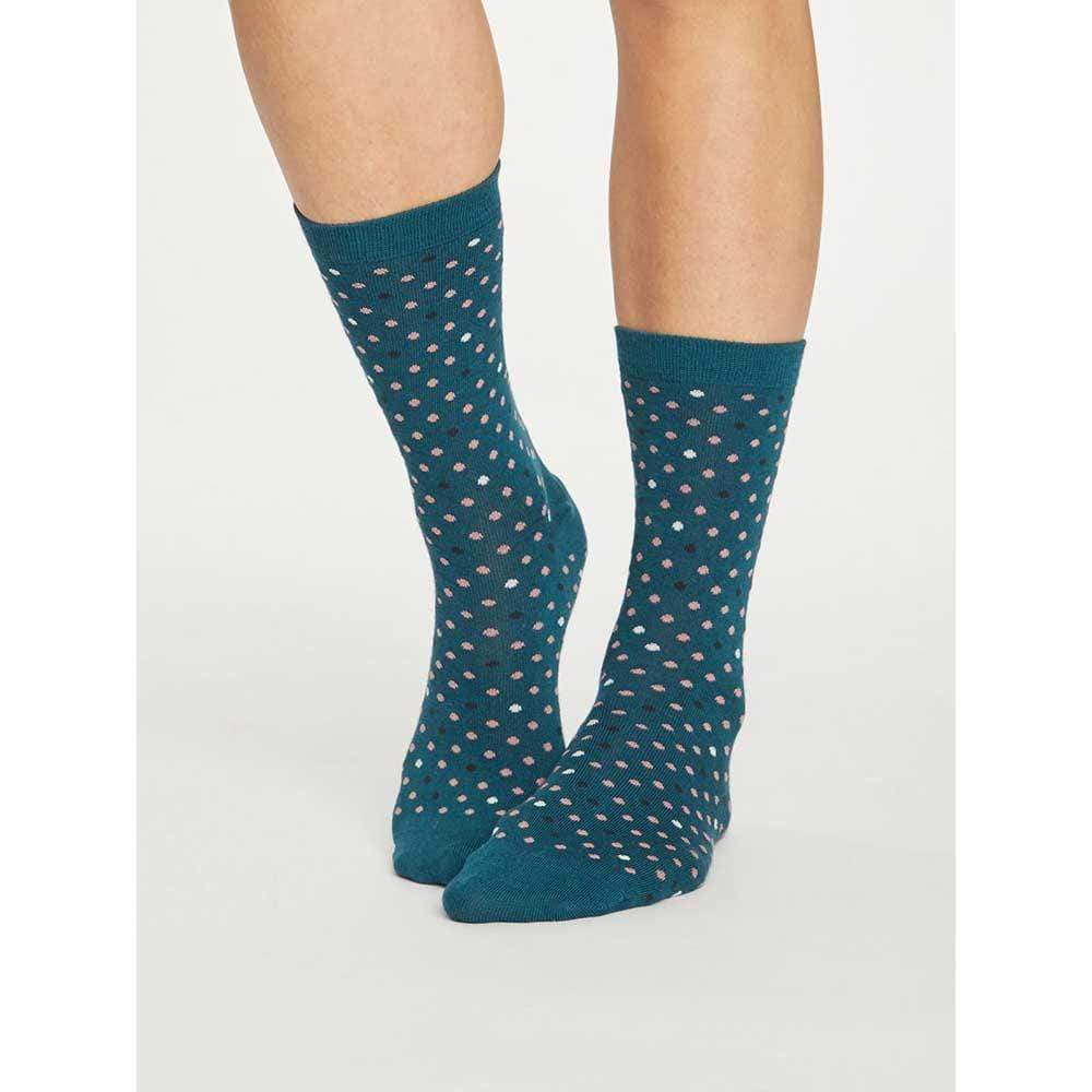 Spotty Natural Breathable Bamboo Socks by Thought Clothing - Deep Teal &Keep