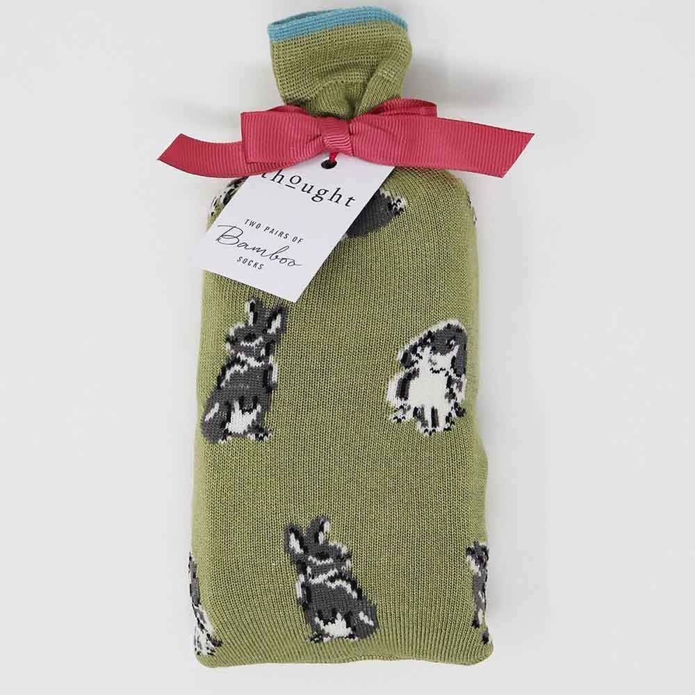 Two Pairs of Natural Bamboo Socks in a Bag - Bunnies &Keep