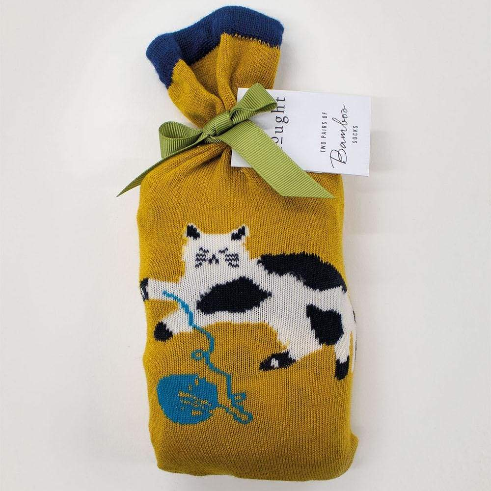 Thought Two Pairs of Natural Bamboo Socks in a Bag - Kitty &Keep
