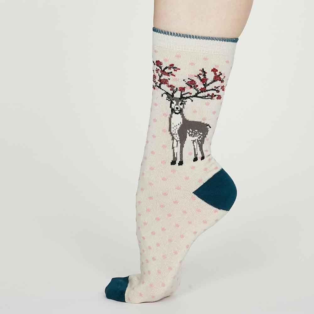 Christmas Deer Natural Bamboo Socks by Thought