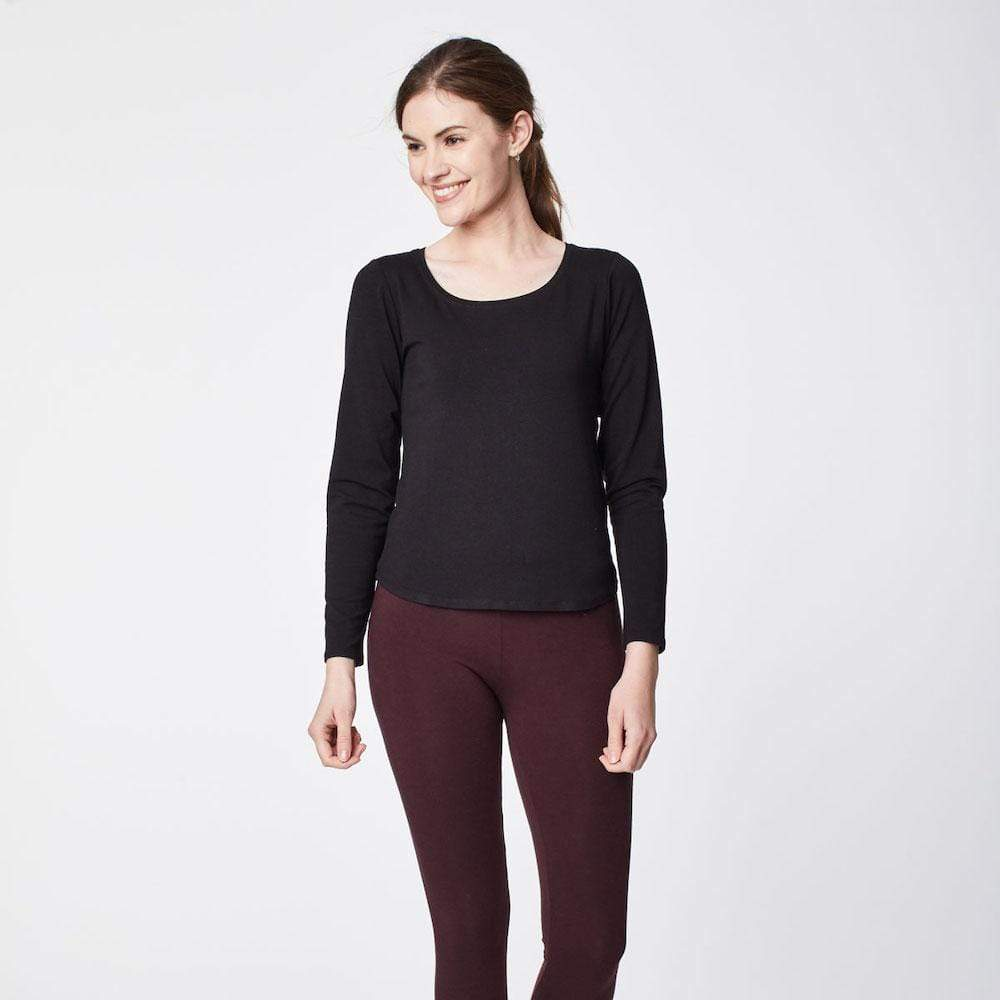 Black Bamboo Base Layer Long-Sleeved Top by Thought Clothing