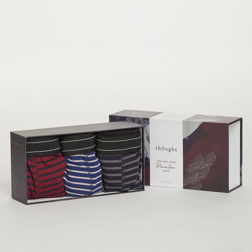 Gift Box of 3 Men's Bamboo Striped Boxers by Thought Clothing &Keep