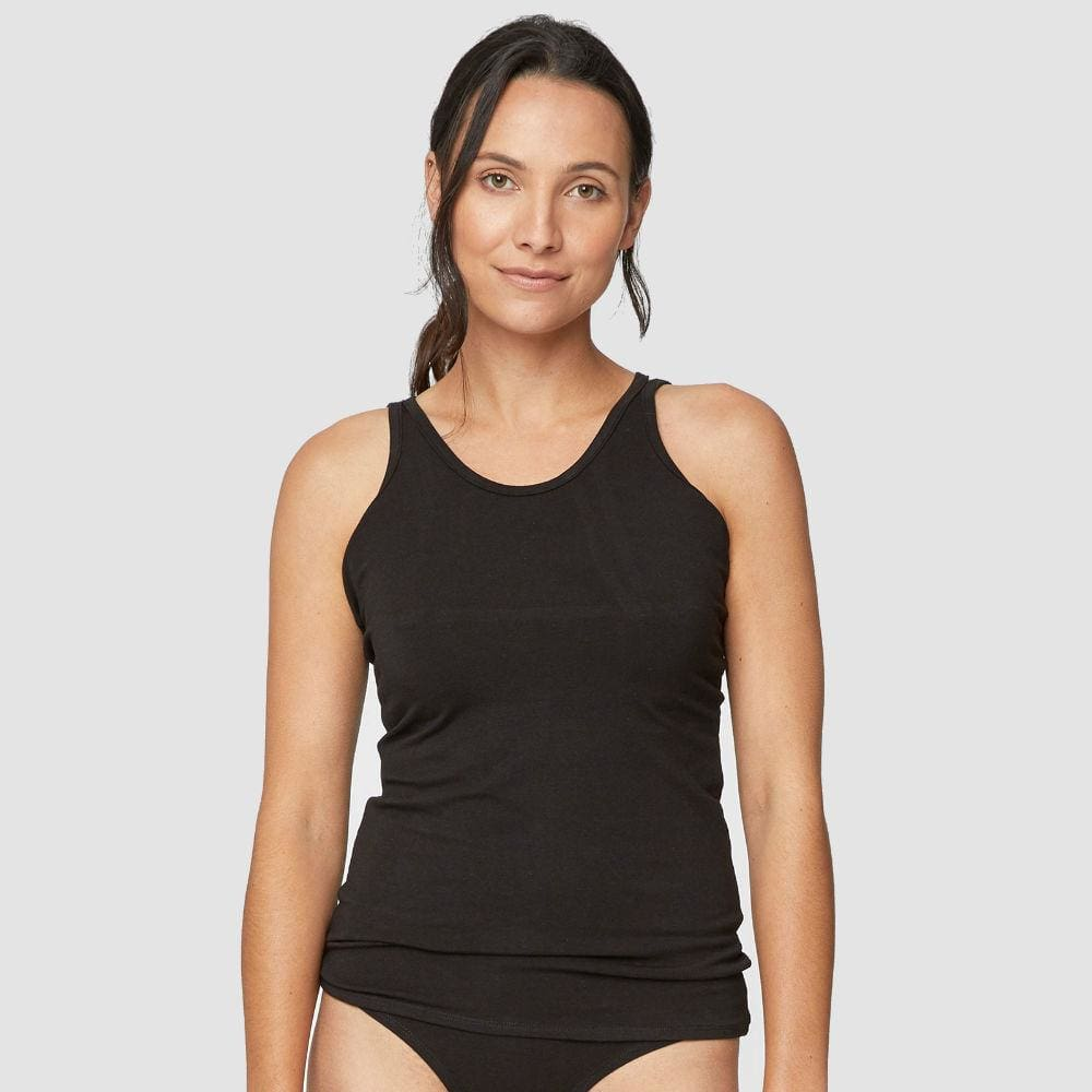 Thought Hannah Womens Bamboo Cami Singlet Vest by Thought - Black &Keep