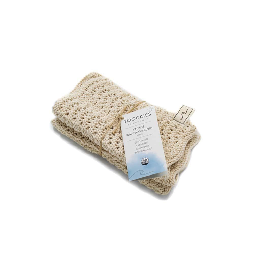 Organic Cotton 'Wave' Face Cloths - Set of 3 Toockies Lavinia &Keep