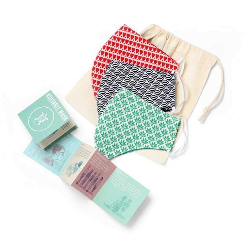Organic Cotton Face Mask - Pack of 3 Turtle Bags &Keep