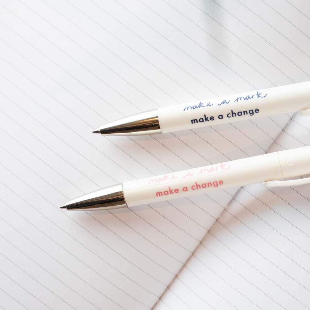 Recycled Plastic Pens - 'Make a change' Set of 2 &Keep