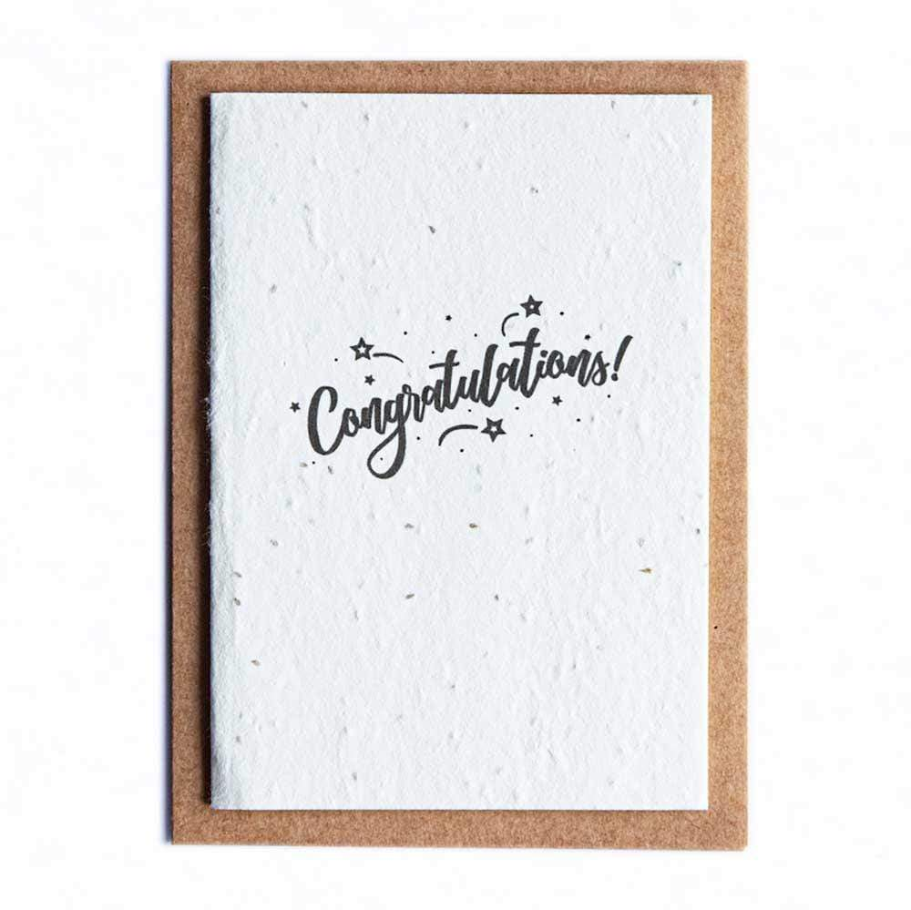 Seed Paper Greetings Card - Congratulations Stars &Keep