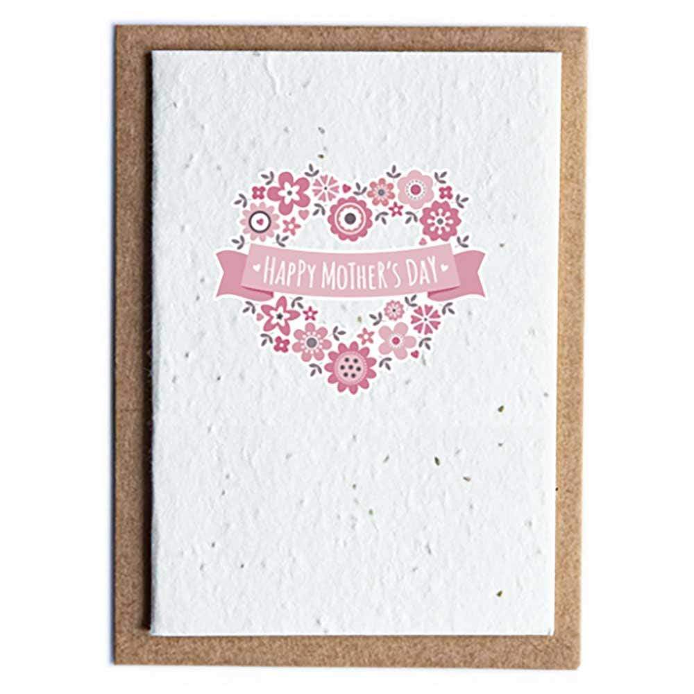 Seed Paper Greetings Card - Happy Mother's Day Flower Heart &Keep