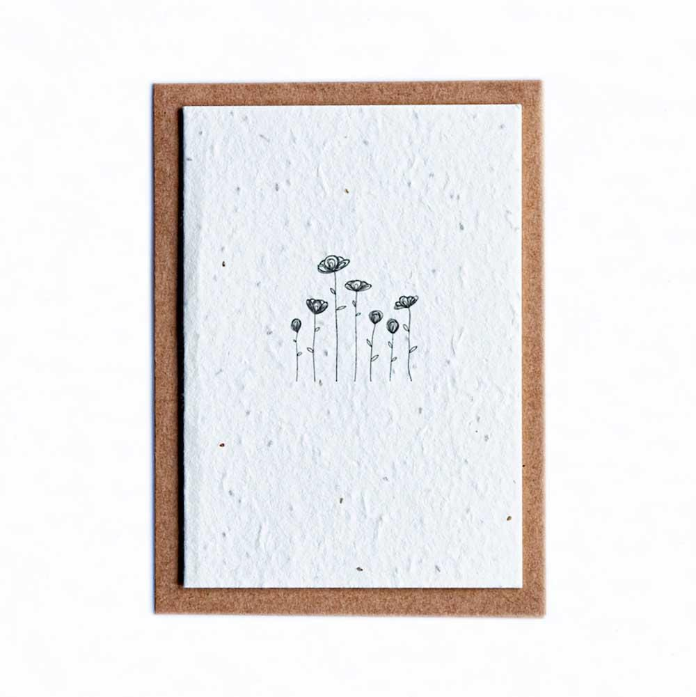 Seed Paper Greetings Card - Line Flowers &Keep