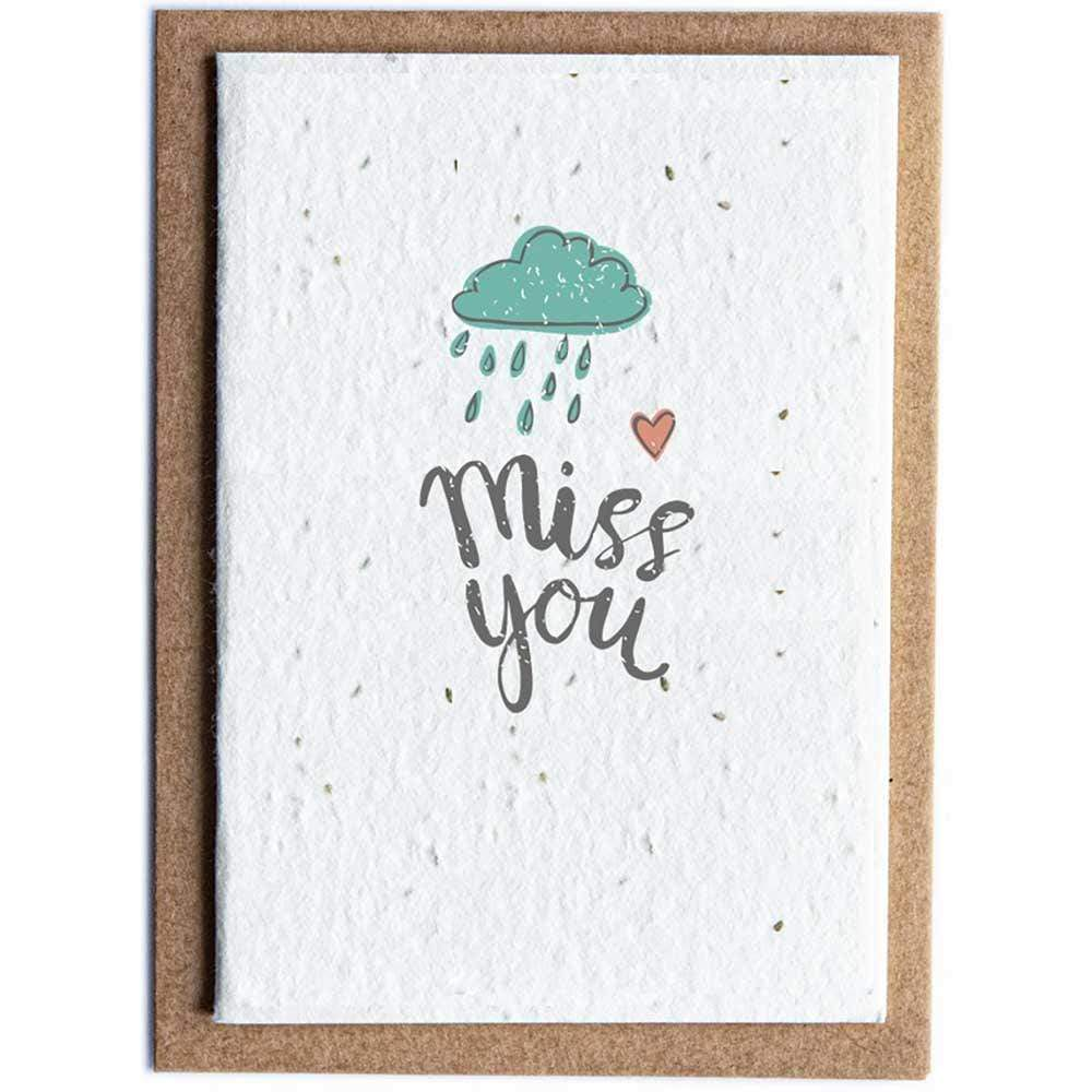 Seed Paper Greetings Card - Miss You Cloud &Keep