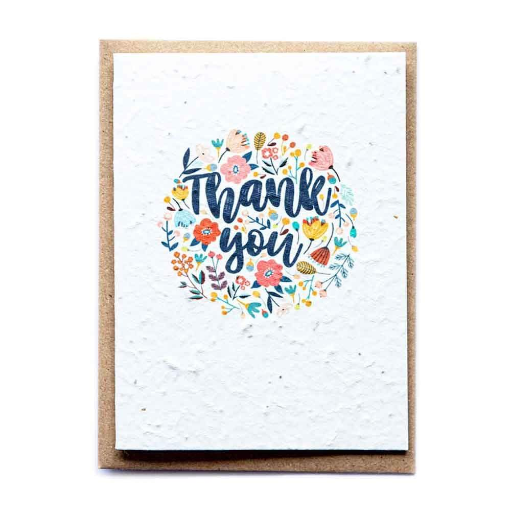 Seed Paper Greetings Card - Thank You Flowers