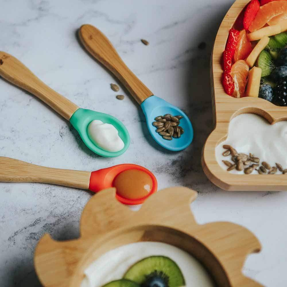 Bamboo Silicone Baby Weaning Spoons