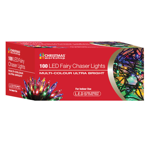 LED Chaser Fairy Lights | Multi-Coloured | 100 Lights - GoShopDirect