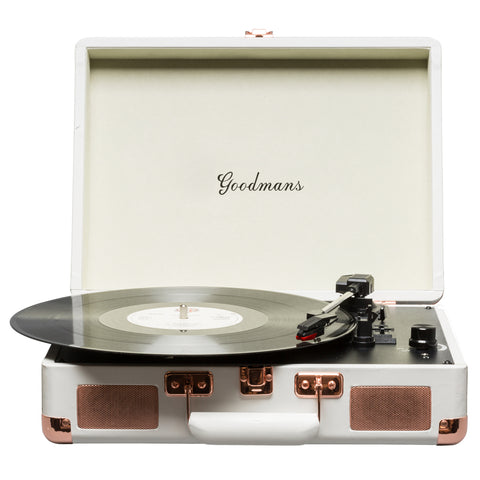 Goodmans Turntable | Portable Suitcase Turntable | White - GoShopDirect