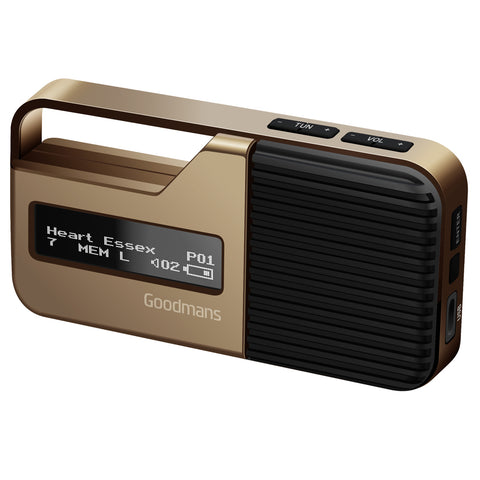 Goodmans Radio | Pocket-Sized DAB Radio | Gold - GoShopDirect