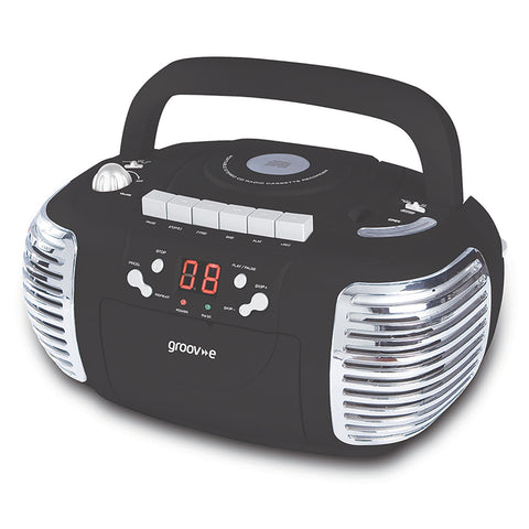 Groove Boombox | Portable CD & Cassette Player with Radio | Black - GoShopDirect