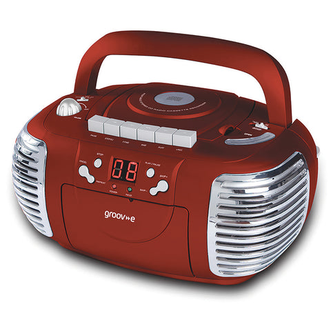 Groove Boombox | Portable CD & Cassette Player with Radio | Red - GoShopDirect