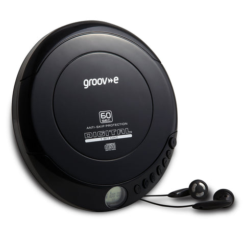 Groove Personal CD Player & Earphones | Retro Series | Black - GoShopDirect