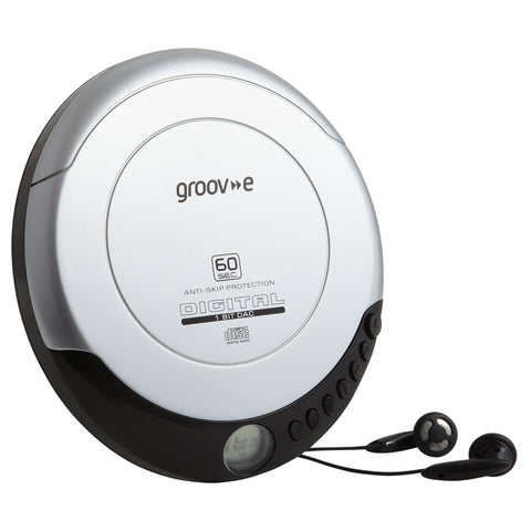 Groove Personal CD Player & Earphones | Retro Series | Silver - GoShopDirect