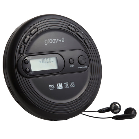 Groove Personal CD Player & Radio | Retro Series | Black - GoShopDirect