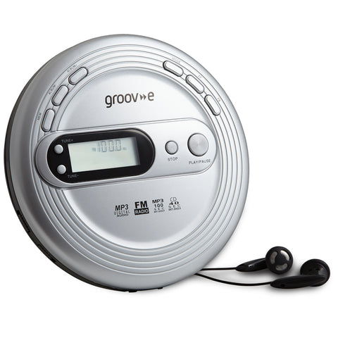 Groove Personal CD Player & Radio | Retro Series | Silver - GoShopDirect