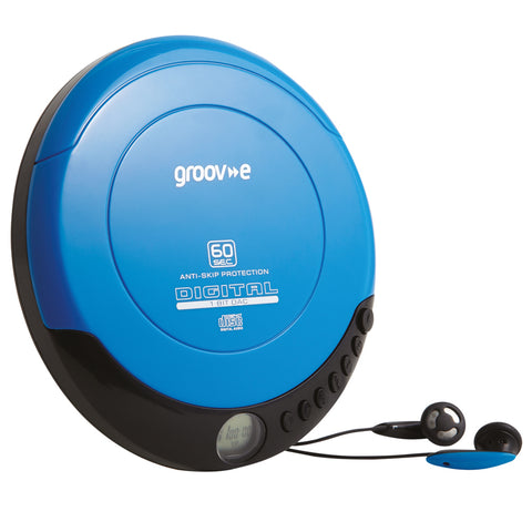 Groove Personal CD Player & Earphones | Retro Series | Blue - GoShopDirect