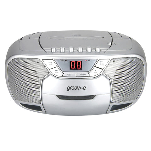 Groove Boombox | Portable CD & Cassette Player with Radio | Silver - GoShopDirect