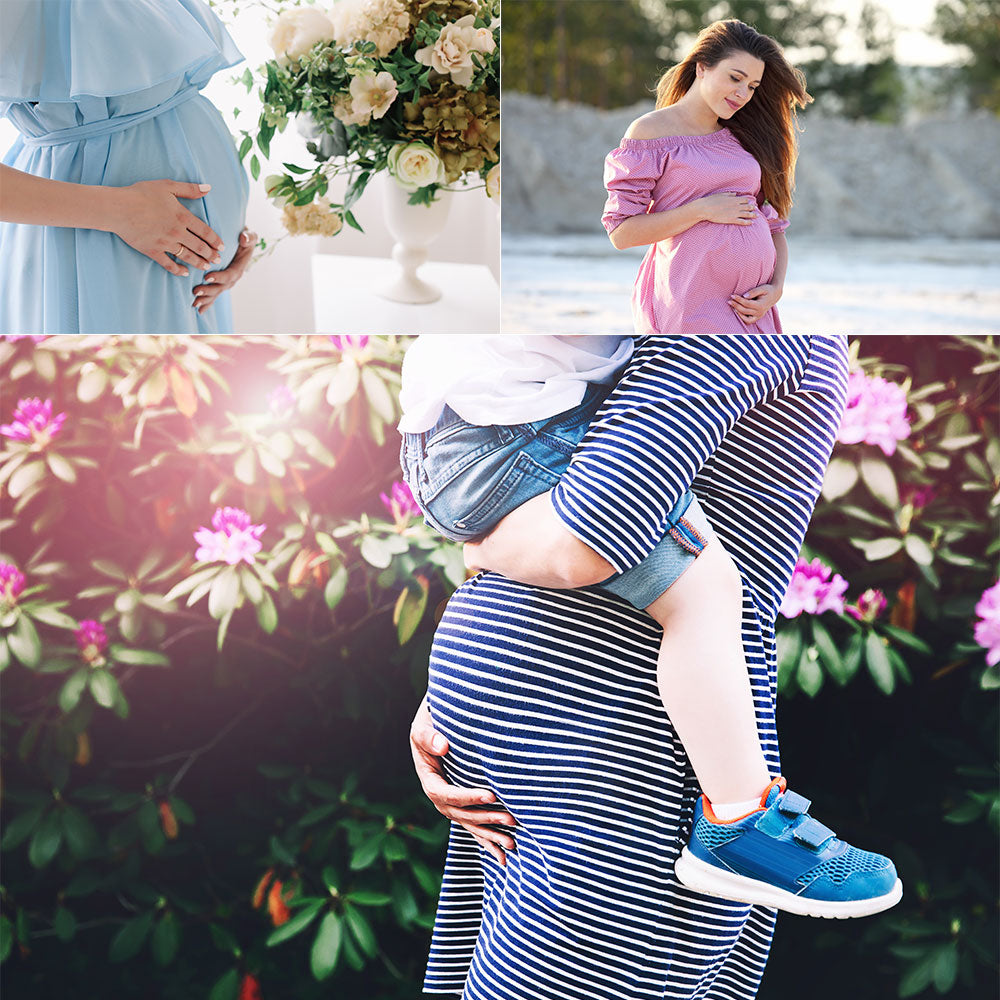 Show off your adorable bump in a cute dress.