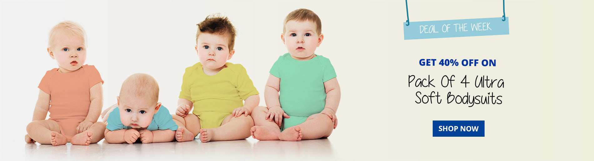 Get 40% off our pack of 4 neutral Baby Bodysuits