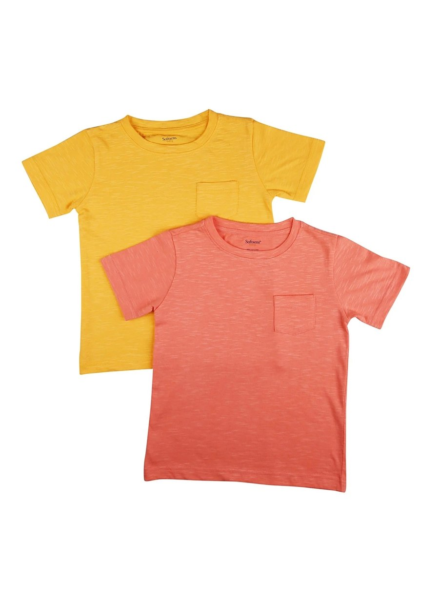 2 Pack Back To Basics Soft Slub Jersey Tees With Pocket-Kids Clothing-Softsens