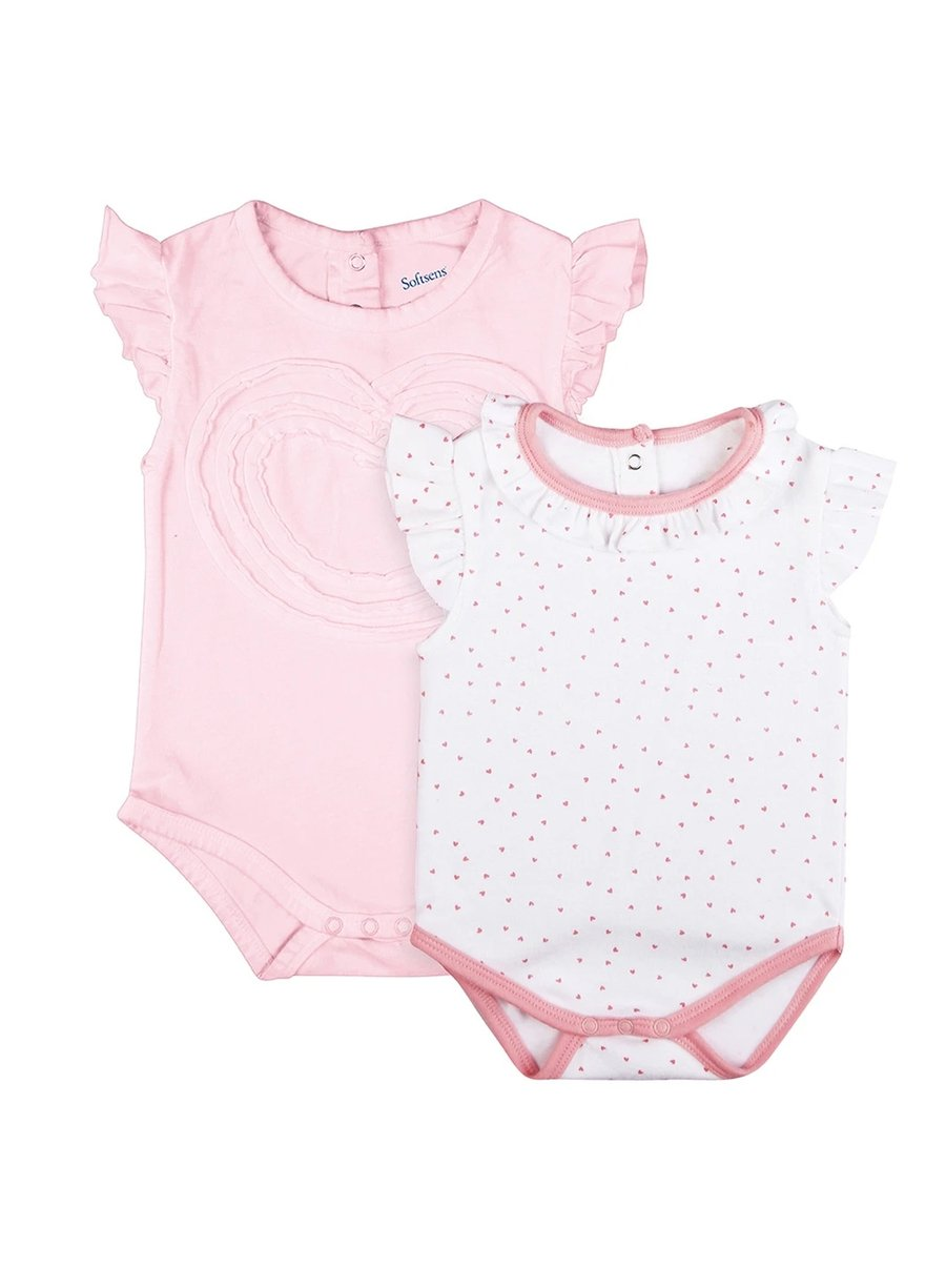 2 Pack Heartbreakers Flutter Sleeve Soft Jersey Bodysuits-Baby Clothing-Softsens
