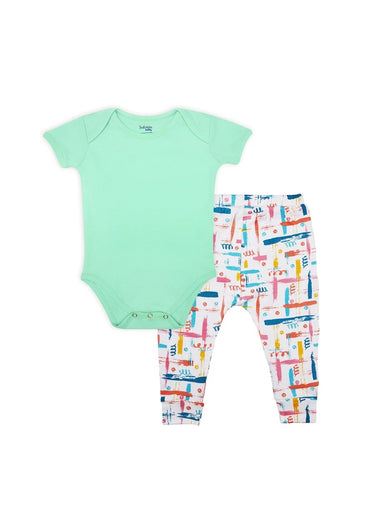 2 Pack Mint Medley Bodysuit & Knit Pants Set-Baby Clothing-Softsens