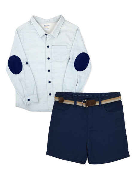 2-Piece 'Boys in Blue' Shirt & Oxford Shorts Set-Kids Clothing-Softsens