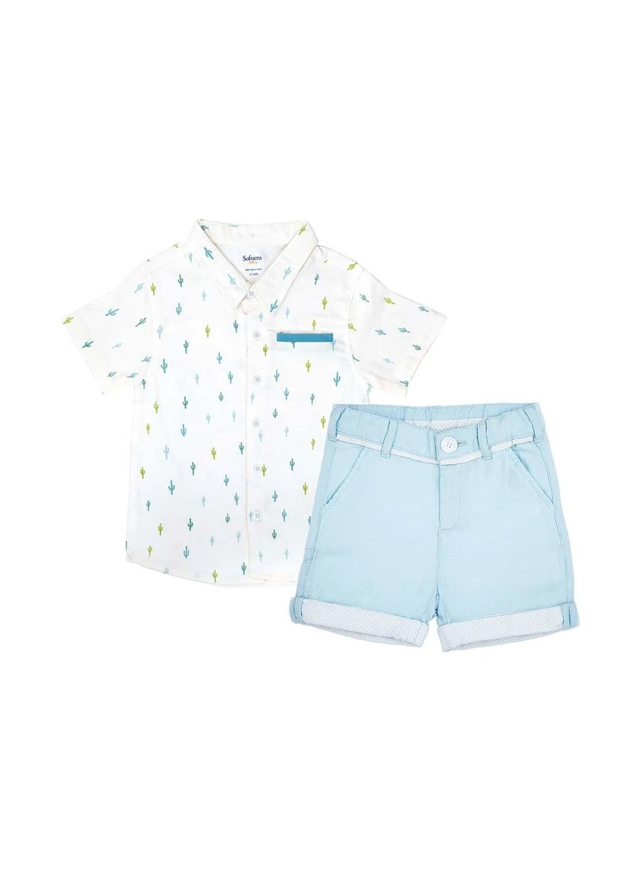 2-Piece Cactus print Shirt & Sky Blue Oxford Shorts Set-Kids Clothing-Softsens