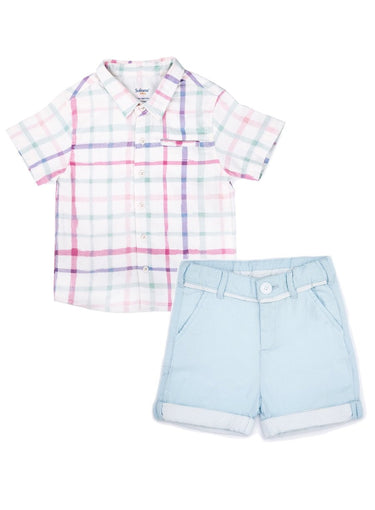 2-Piece Checkered Watercolour Shirt & Sky Blue Oxford Shorts Set-Kids Clothing-Softsens