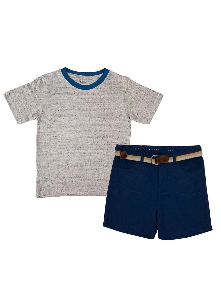 2-Piece Classic Casual T-shirt & Oxford Shorts Set-Kids Clothing-Softsens