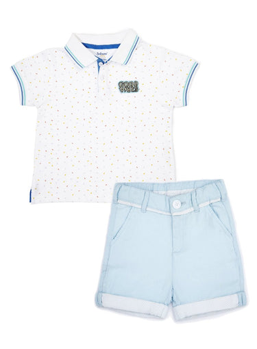 2-Piece Cool Kids Polo Tee & Oxford Shorts Set-Kids Clothing-Softsens