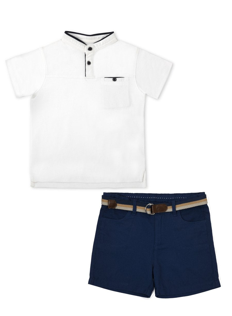 2-Piece Sleek Style Polo Tee & Oxford Shorts Set-Kids Clothing-Softsens