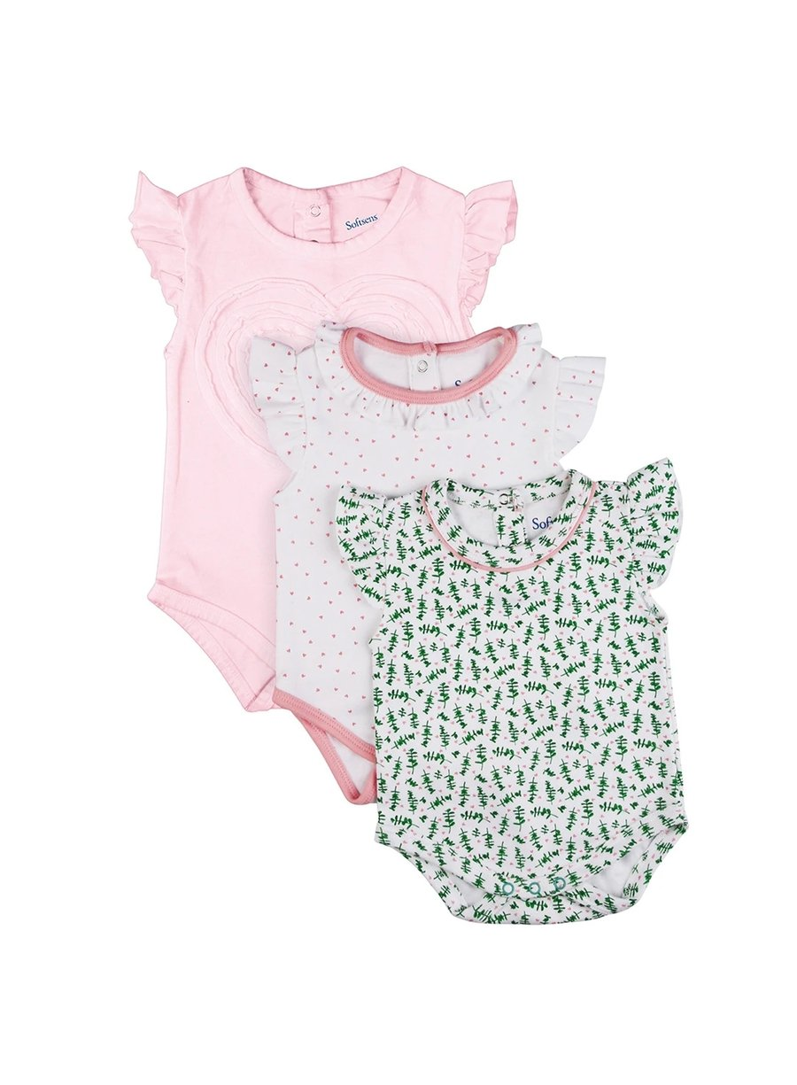 3 Pack Frill Frenzy Flutter Sleeve Soft Jersey Bodysuits-Softsens