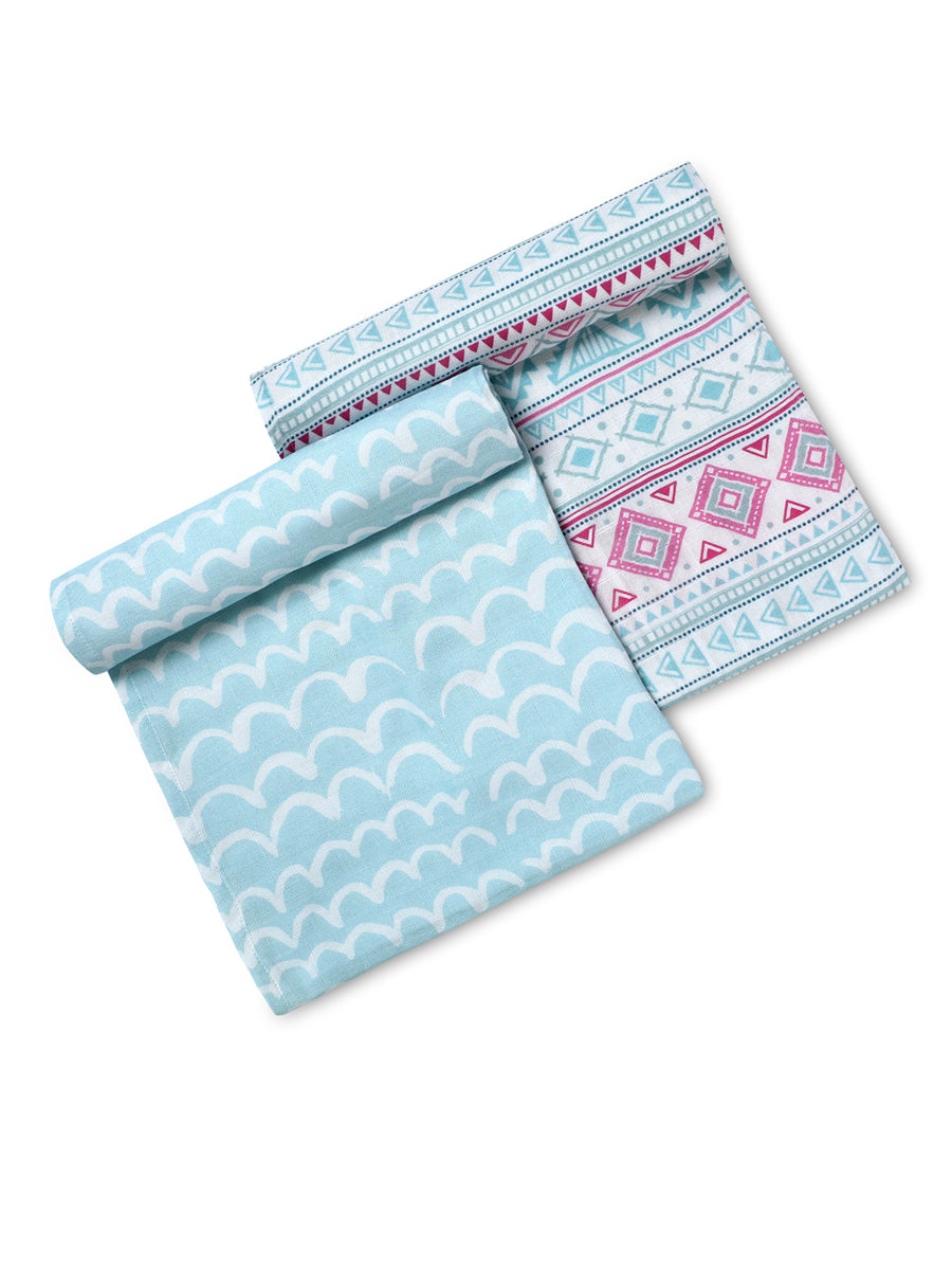 Boho Baby Pack of 2  Certified Organic Muslin Swaddles