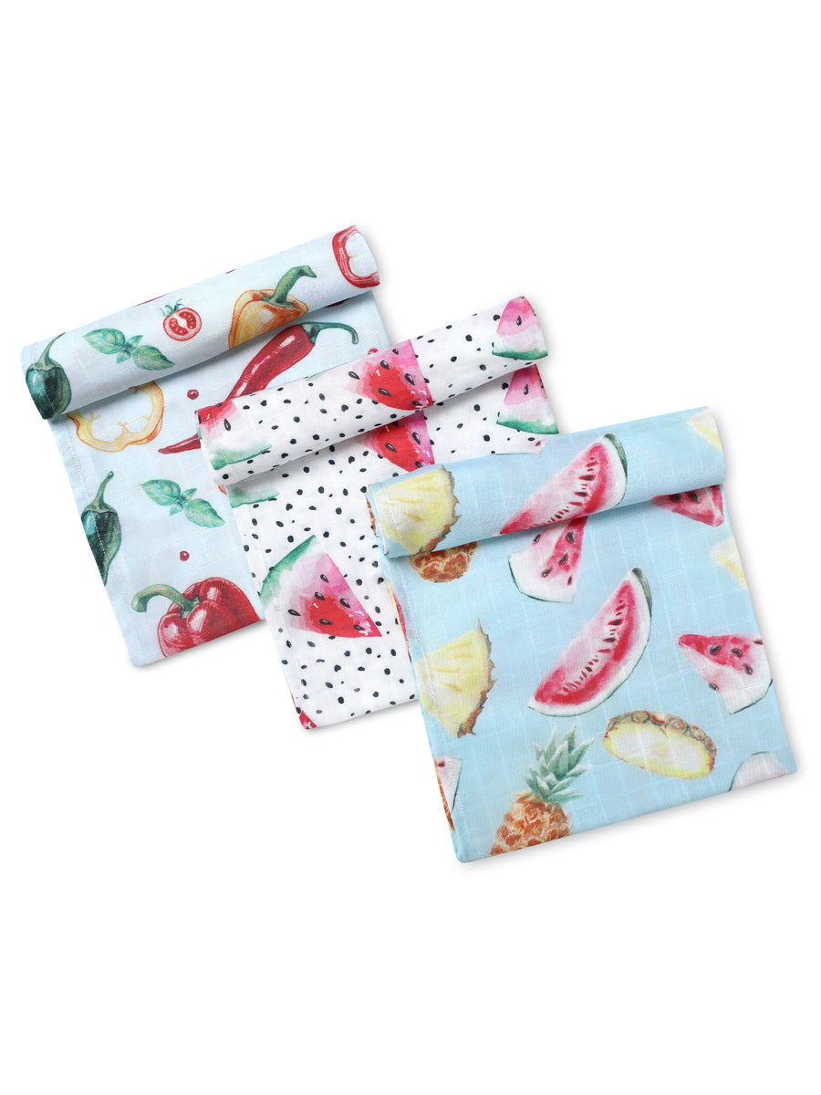 Eat Sleep Love Pack of 3 Certified Organic Muslin Swaddles