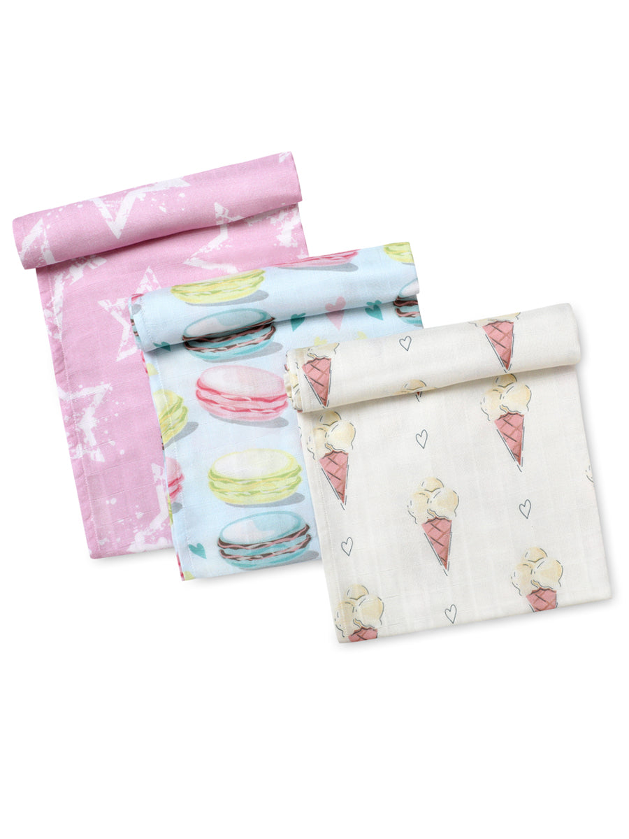 Softsens Pastel Magic Pack of 3 Certified Organic Muslin Swaddles