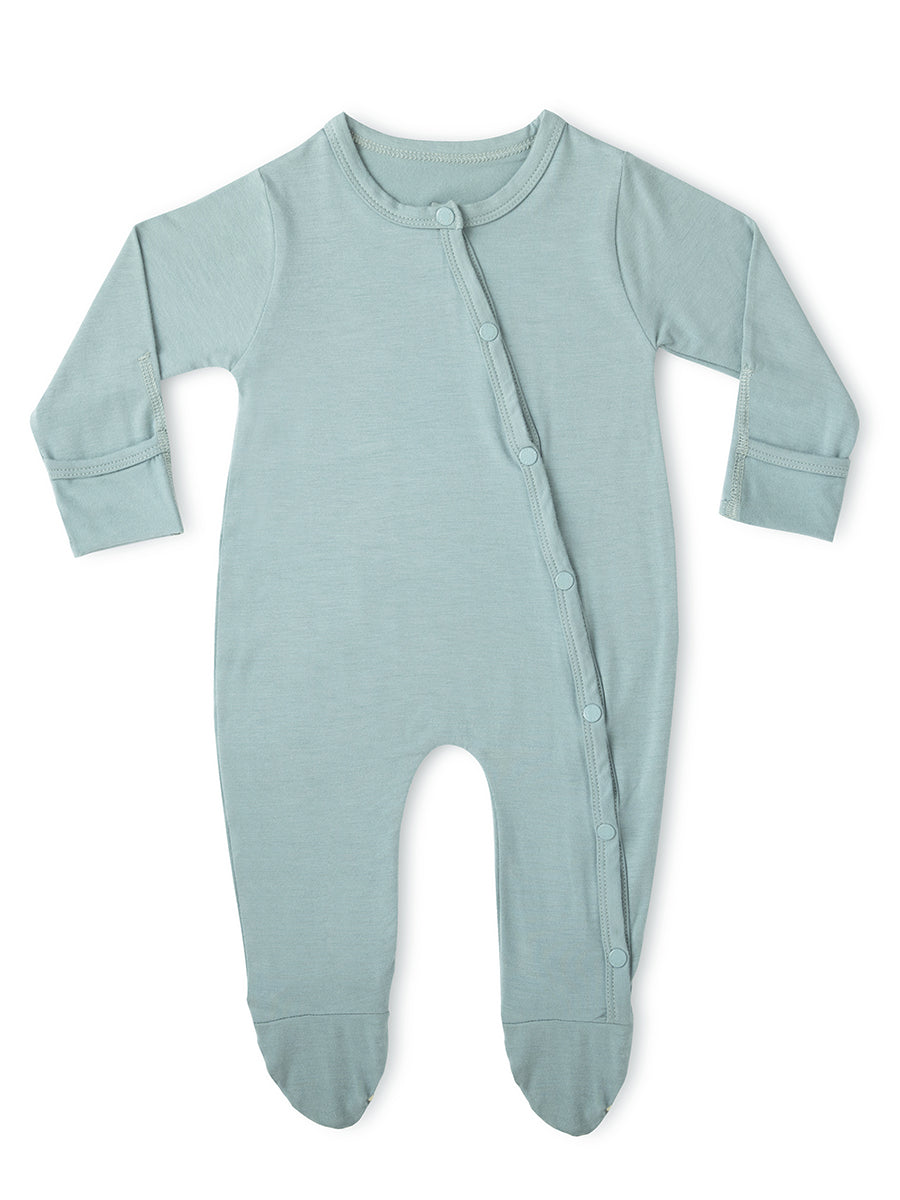 Aquifer Teal Long-Sleeved Soft Bamboo Stretch Footie