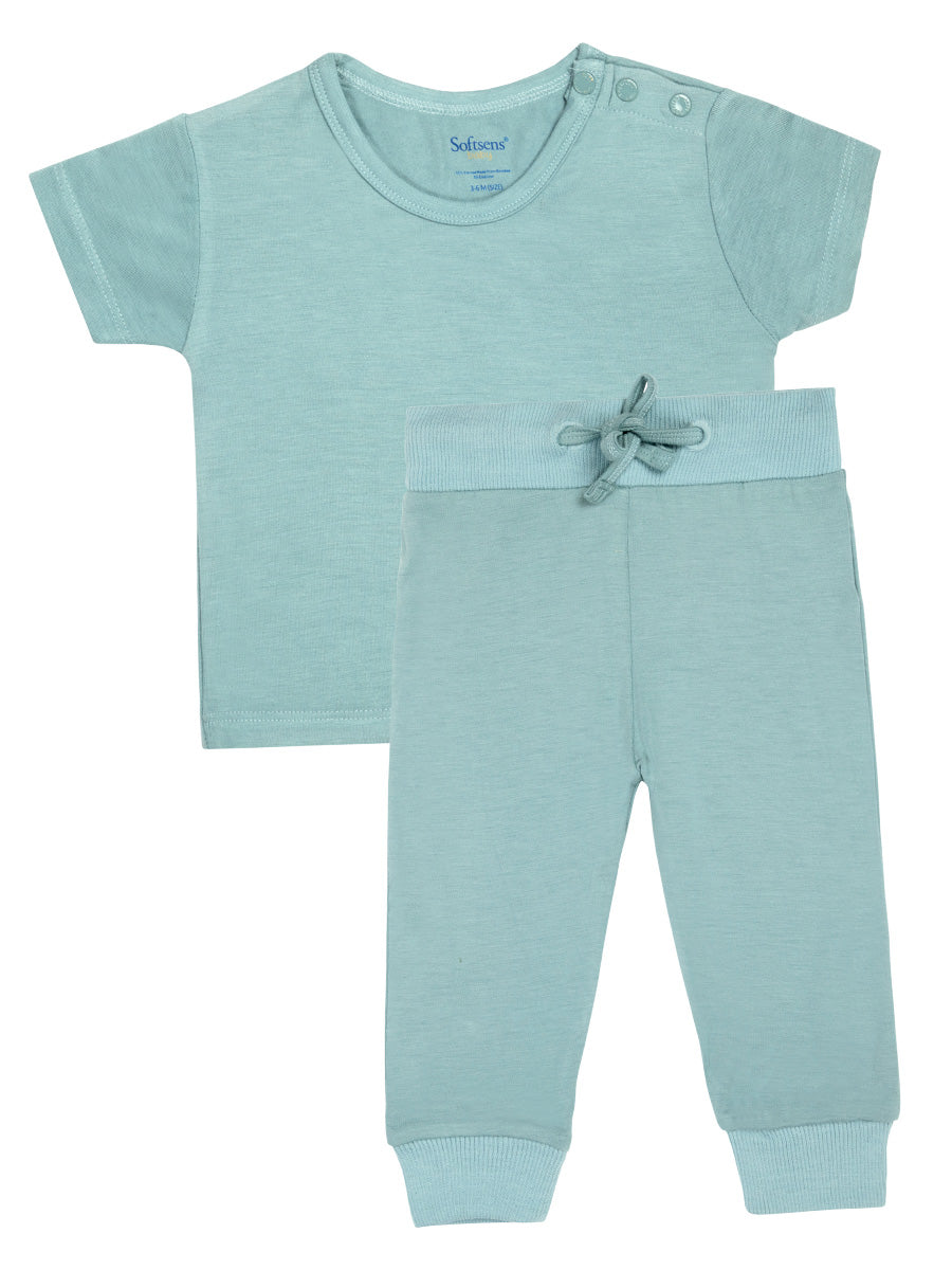 Aquifer Teal Short-Sleeved Soft Bamboo Top & Bottom Set