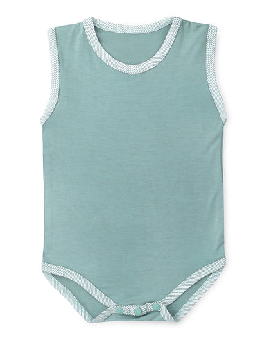 Aquifer Teal Sleeveless Soft Bamboo Stretch Onesie
