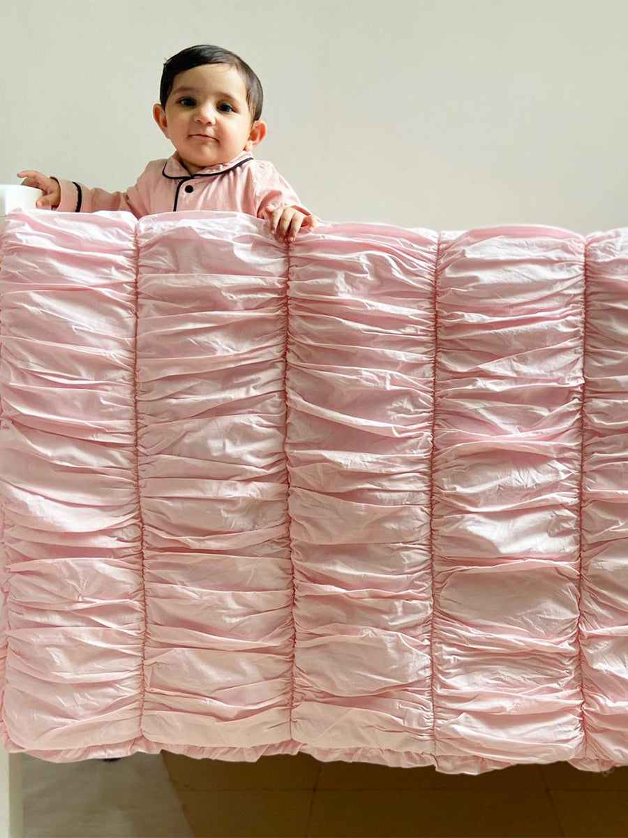 Organic Cotton Cot Bedding Set (6 pieces) Pink Ruffles