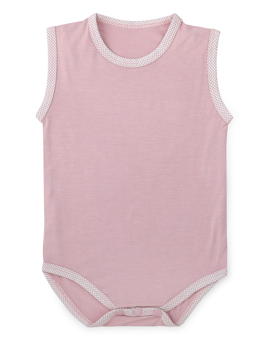Coral Blush Sleeveless Soft Bamboo Stretch Onesie